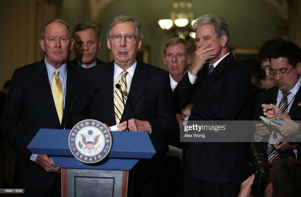 Senate Republicans Address The Press After Weekly Policy Luncheon