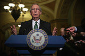 S Senate Minority Leader Sen Mitch McConnell speaks to members of the media after the weekly Senate Republican Policy Luncheon December 16 2014 on...