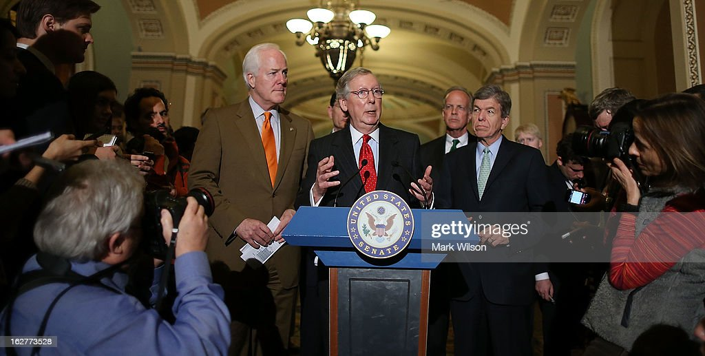 U.S. Senate Minority Leader Sen. Mitch McConnell (R-KY) (C) speaks to the media as (L-R) Sen. John Cornyn (R-TX), Sen. John Barrasso (R-WY), Sen. Jerry Moran (R-KS) and Sen. Roy Blunt (R-MO) listen after their weekly Senate Republican policy luncheon at the U.S. Capitol, February 26, 2013 in Washington, DC. The Republican leadership spoke about the GOP agenda and the possibility of sequestration and its economic impact.