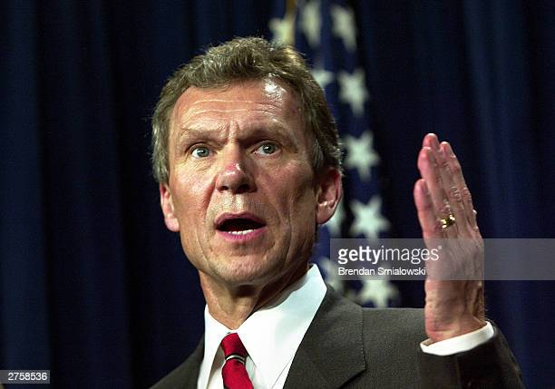 Senate Minority Leader Thomas Daschle addresses the media during a news conference on Capitol Hill November 24 2003 in Washington DC Senators held...