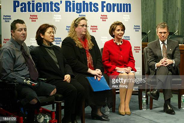 S Senate Minority Leader Tom Daschle and US House Minority Leader Nancy Pelosi hold a Patients' Rights Forum with victims of medical malpractice...
