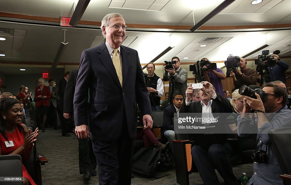 Senate Minority Leader US SenMitch McConnell arrives for a press conference at the University of Louisville November 5 2014 in Louisville Kentucky...