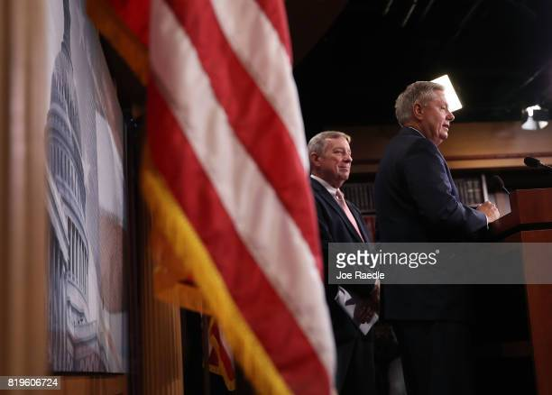 Senate Minority Whip Dick Durbin and Sen Lindsey Graham attend a press conference about the Dream Act of 2017 in the Capitol building on July 20 2017...