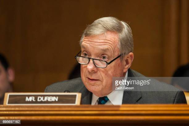 Senate Minority Whip Dick Durbin speaks during a State Foreign Operations and Related Programs Subcommittee hearing on the State Department's FY2018...