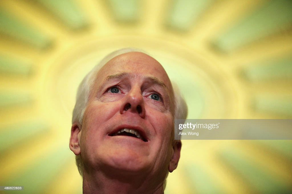 S Senate Minority Whip Sen John Cornyn speaks to members of the media after the weekly Senate Republican Policy Committee luncheon March 25 2014 at...