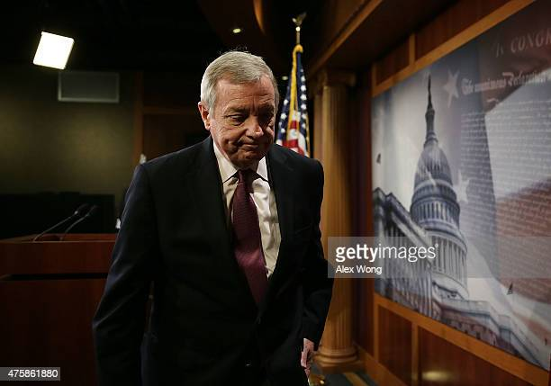 S Senate Minority Whip Sen Richard Durbin leaves after a news conference June 4 2015 on Capitol Hill in Washington DC The senator held a news...