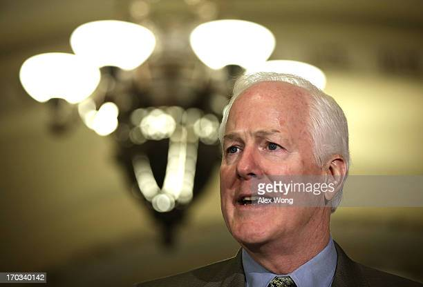 Senate Minority Whip Senator John Cornyn speaks members of the media after a Republican Policy luncheon June 11 2013 on Capitol Hill in Washington DC...