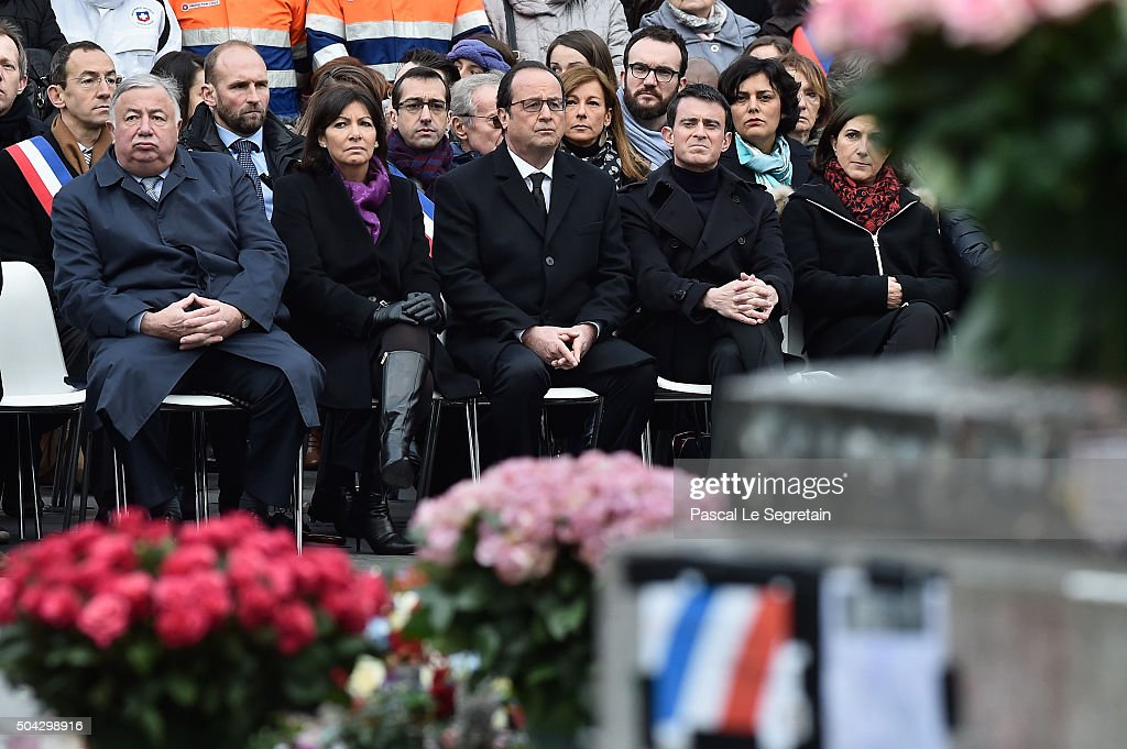 Senate President Gerard Larcher,Paris Mayor <a gi-track='captionPersonalityLinkClicked' href=/galleries/search?phrase=Anne+Hidalgo&family=editorial&specificpeople=590989 ng-click='$event.stopPropagation()'>Anne Hidalgo</a>, French President Francois Hollande and French Prime Minister <a gi-track='captionPersonalityLinkClicked' href=/galleries/search?phrase=Manuel+Valls&family=editorial&specificpeople=2178864 ng-click='$event.stopPropagation()'>Manuel Valls</a> attend The Tribute To 2015 Terrorist Attack Victims on January 10, 2016 in Paris, France. (Photo by Pascal Le Segretain/Getty Images). A total of 147 victims lost their lives last year during the several terrorist attacks across the city in 2015. 17 during the Charlie Hebdo and Hyper Cacher attacks in January and 130 more during the November attacks.