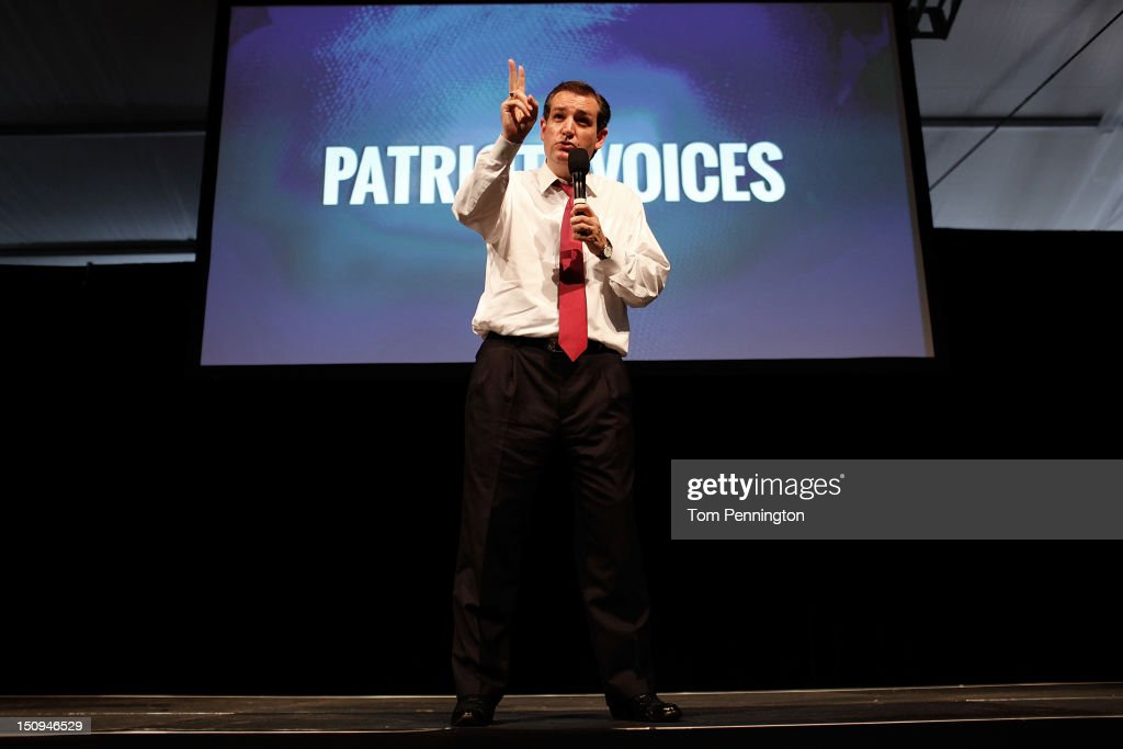 Senate Republican Candidate, Texas Solicitor General <a gi-track='captionPersonalityLinkClicked' href=/galleries/search?phrase=Ted+Cruz&family=editorial&specificpeople=7222093 ng-click='$event.stopPropagation()'>Ted Cruz</a> speaks at the 'Patriots for Romney-Ryan Reception' on August 29, 2012 in Tampa, Florida. Former Massachusetts Gov. Former Massachusetts Gov. Mitt Romney was nominated as the Republican presidential candidate during the RNC, which is scheduled to conclude August 30.