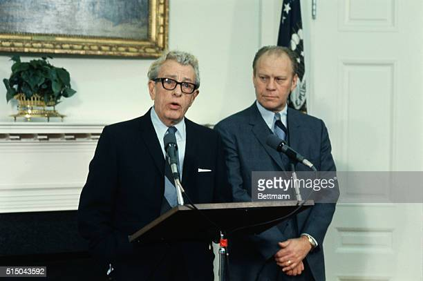 Senate Republican leader Everett Dirksen left and House Republican leader Rep Gerald Ford talk to newsmen at the White House 1/28 following twohour...
