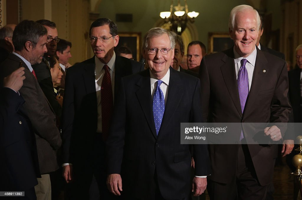 S Senate Republican leadership team Leader Sen Mitch McConnell Whip Sen John Cornyn and Policy Committee Chair Sen John Barrasso come out of the...