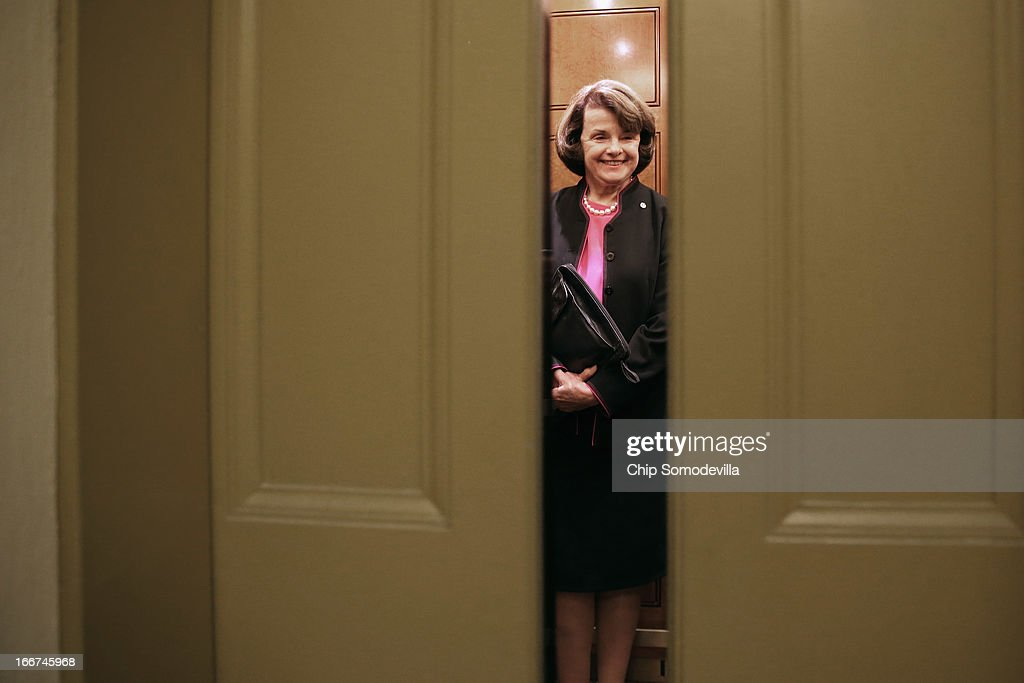 Senate Select Committee on Intellegence Chairman <a gi-track='captionPersonalityLinkClicked' href=/galleries/search?phrase=Dianne+Feinstein&family=editorial&specificpeople=214078 ng-click='$event.stopPropagation()'>Dianne Feinstein</a> (D-CA) takes an elevator in the U.S. Capitol April 16, 2013 in Washington, DC. The Senate Democrats are meeting for their weekly policy luncheon.
