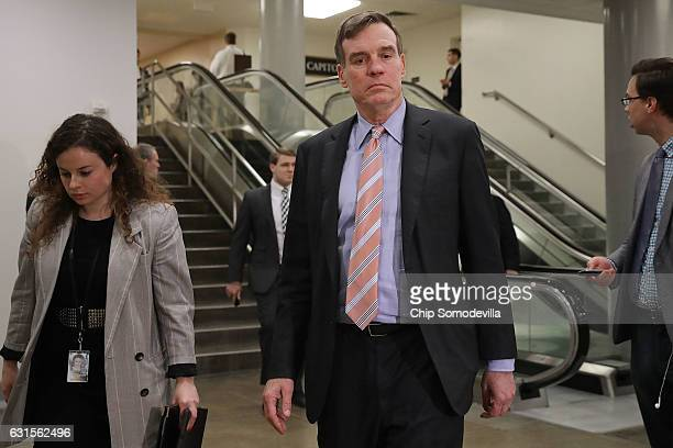 Senate Select Committee on Intelligence ranking member Sen Mark Warner heads for a closeddoor classified briefing from the heads of the US...
