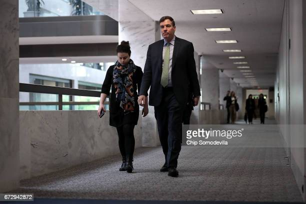 Senate Select Committee on Intelligence ranking member Sen Mark Warner arrives for a closeddoor meeting in the Hart Senate Office Building on Capitol...