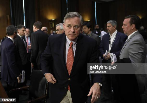 Senate Select Intelligence Committee Chairman Sen Richard Burr departs after the first session of a hearing of the Senate Select Intelligence...