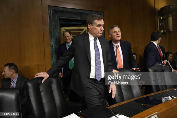 Senate Select Intelligence Committee Chairman Sen Richard Burr and ranking member Sen Mark Warner arrive for a hearing of the Senate Select...