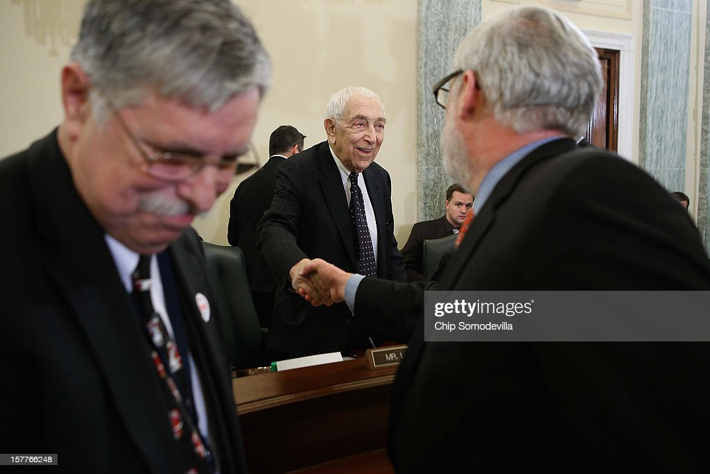 Senate Surface Transportation and Merchant Marine Infrastructure, Safety, and Security Subcommittee Chairman Frank Lautenberg (D-NJ) (C) greets Port Authority of New York and New Jersey Executive Director Patrick Foye (R) and AMTRAK President Joseph Boardman (L) before a hearing on 'Superstorm Sandy: The Devastating Impact on the Nation's Largest Transportation Systems.' December 6, 2012 in Washington, DC. Lhota, Shumer and others testified before the subcommittee about the need for more federal dollars for Superstorm Sandy recovery.