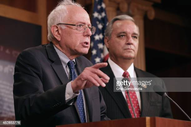 Senate Veterans Affairs Committee Chairman Bernie Sanders and House Veterans Affairs Committee Chairman Jeff Miller hold a news conference to...
