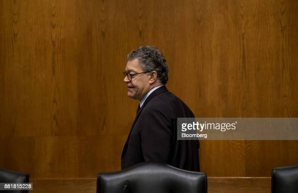 Senator Al Franken a Democrat from Minnesota arrvies for a Senate Health Education Labor and Pension Committee nomination hearing for Alex Azar...