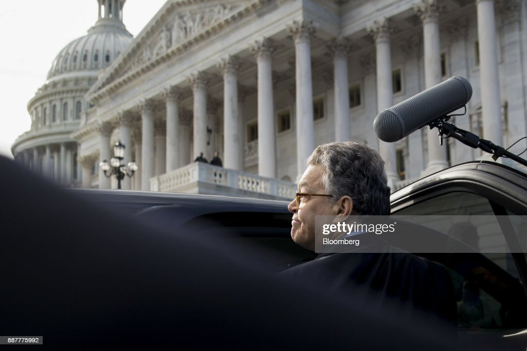 Senator Al Franken, a Democrat from Minnesota, gets into his vehicle after speaking on the Senate floor at the U.S. Capitol in Washington, D.C., U.S., on Thursday, Dec. 7, 2017. Frankenannounced Thursday hell resign to end the turmoil over allegations that he groped or tried to forcibly kiss several women after more than half of his Democratic colleagues demanded he step down to make clear that mistreatment of women is unacceptable. Photographer: Andrew Harrer/Bloomberg via Getty Images