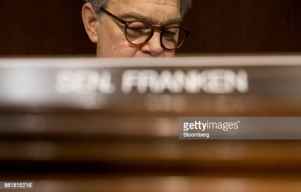 Senator Al Franken a Democrat from Minnesota listens during a Senate Health Education Labor and Pension Committee nomination hearing for Alex Azar...