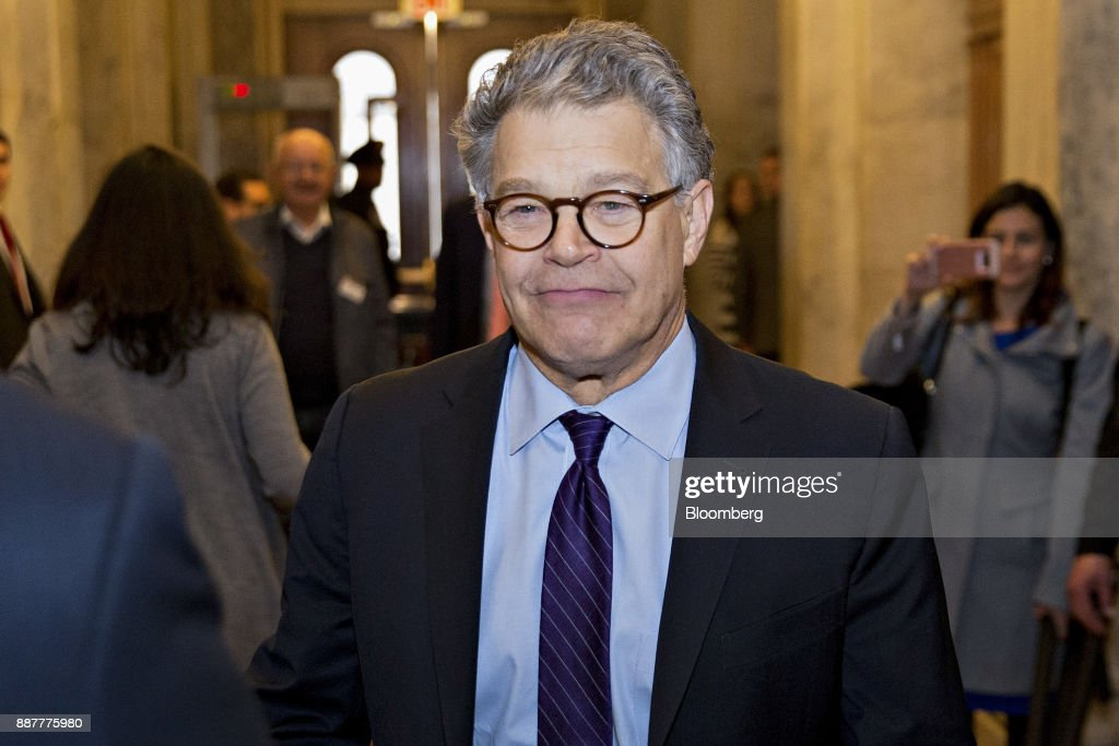 Senator Al Franken, a Democrat from Minnesota, walks through the U.S. Capitol before speaking on the Senate floor in Washington, D.C., U.S., on Thursday, Dec. 7, 2017. Frankenannounced Thursday hell resign to end the turmoil over allegations that he groped or tried to forcibly kiss several women after more than half of his Democratic colleagues demanded he step down to make clear that mistreatment of women is unacceptable. Photographer: Andrew Harrer/Bloomberg via Getty Images