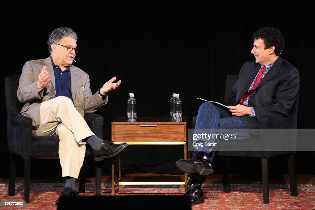 Senator Al Franken (L) and Editor David Remnick (R) speak onstage during Senator Al Franken Talks With The New Yorkers David Remnick at New York Society for Ethical Culture on October 7, 2017 in New York City.