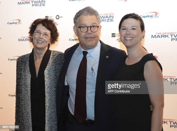 US Senator Al Franken Franni Bryson and their daughter Thomasin Franken arrive for the 20th Annual Mark Twain Prize for American Humor honoring...