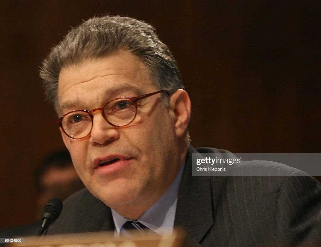Senator <a gi-track='captionPersonalityLinkClicked' href=/galleries/search?phrase=Al+Franken&family=editorial&specificpeople=167079 ng-click='$event.stopPropagation()'>Al Franken</a> (D-MN) poses questions during a hearing by the Senate Antitrust Competition Policy and Consumer Rights Subcommittee on the proposed merger between Comcast and NBC Universal on Capitol Hill February 4, 2010 in Washington, DC. The roughly $30 billion dollar deal, if allowed by regulators to be completed, would concentrate a great deal of power and greatly impact the future of television programming.