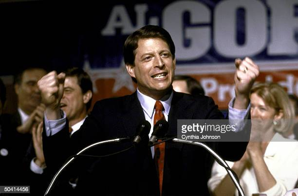 Senator Al Gore celebrating his victory in the Super Tuesday Presidential Primary