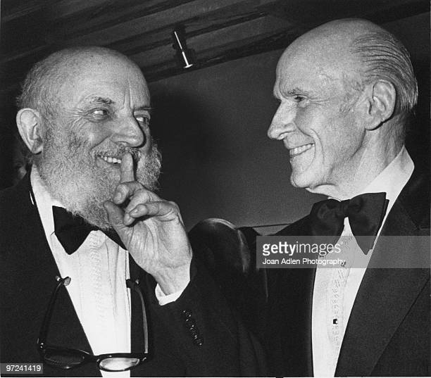Senator Alan Cranston chats with photographer Ansel Adams at a Wilderness Society dinner in Adam's honor celebrating the first West Coast exhibition...