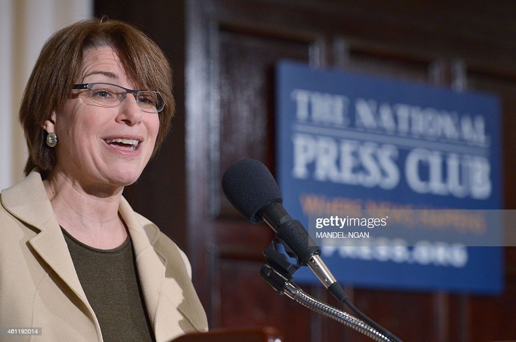 US Senator <a gi-track='captionPersonalityLinkClicked' href=/galleries/search?phrase=Amy+Klobuchar&family=editorial&specificpeople=3959717 ng-click='$event.stopPropagation()'>Amy Klobuchar</a>, Democrat of Minnesota, speaks during the launch of the US Agriculture Coalition for Cuba at the National Press Club on January 8, 2014 in Washington, DC. The coalition is seeking to advance trade relations between the US and Cuba by ending the embargo policy. AFP PHOTO/Mandel NGAN