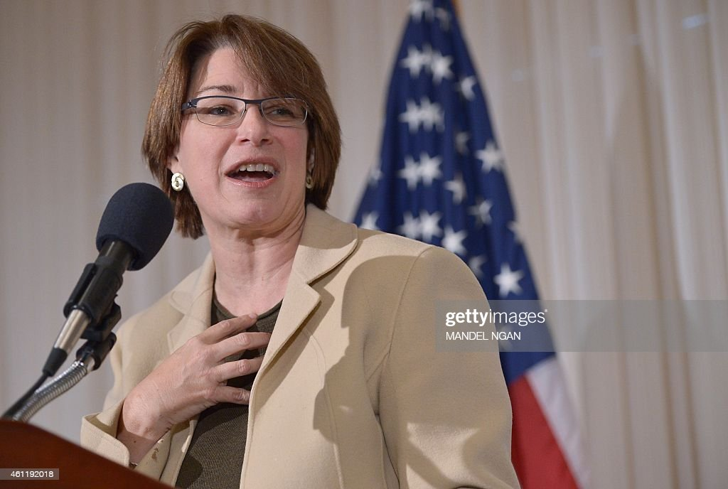 US Senator Amy Klobuchar, Democrat of Minnesota, speaks during the launch of the US Agriculture Coalition for Cuba at the National Press Club on January 8, 2014 in Washington, DC. The coalition is seeking to advance trade relations between the US and Cuba by ending the embargo policy. AFP PHOTO/Mandel NGAN