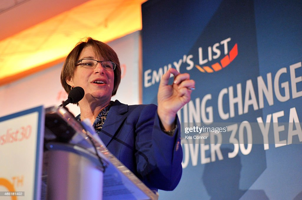 Senator <a gi-track='captionPersonalityLinkClicked' href=/galleries/search?phrase=Amy+Klobuchar&family=editorial&specificpeople=3959717 ng-click='$event.stopPropagation()'>Amy Klobuchar</a> speaks at EMILY's List 30th Anniversary Gala at Washington Hilton on March 3, 2015 in Washington, DC.