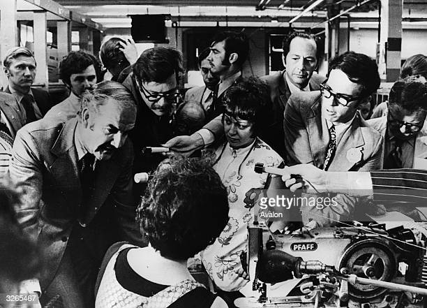 Senator and Democratic Party presidential candidate George McGovern campaigning for support at a sewing factory in New England during the American...