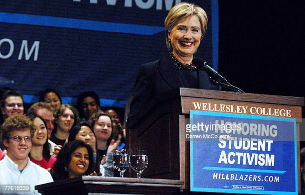 S Senator and presidential candidate Hillary Clinton smiles while speaking to the crowd at her alma mata at Wellesley College November 1 2007 in...