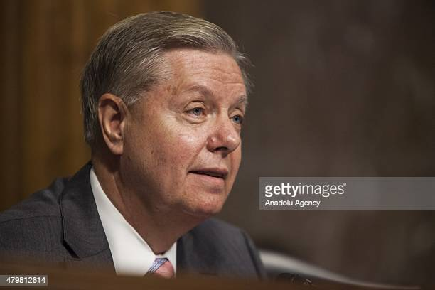 Senator and Republican Presidential Candidate Lindsey Graham questions Secretary of Defense Ashton Carter and Chairman of the Joint Chiefs of Staff...