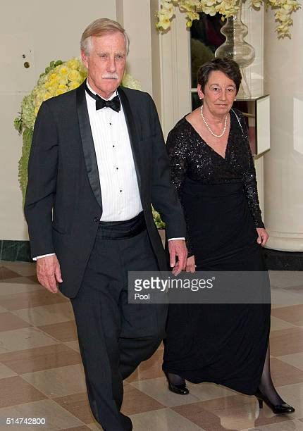 Senator Angus King and Kathryn Rand arrive for the State Dinner at the White House March 10 2016 in Washington DC Hosted by President and First Lady...