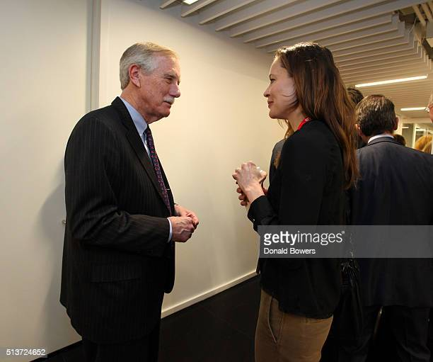 Senator Angus King and Summerly Horning Vice President of Industry Relations at TAU Investment Management visit GLG on March 4 2016 in New York City...