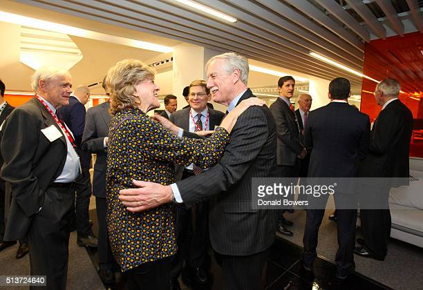 Senator Angus King greets a guest as he visits GLG on March 4 2016 in New York City Photo by Donald Bowers/Getty Images for GLG