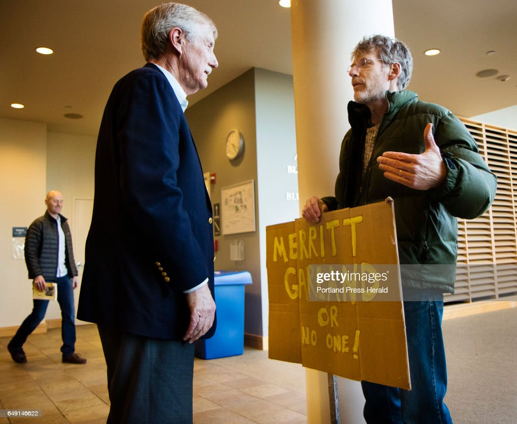Senator Angus King talks with David Simpson of Peaks Islandbefore a town hall meeting, on the subject of Judge Neil Gorsuch's conformation to the Supreme Court at Hannaford Hall at USM in Portland. Simpson was supporting President Obamas nomination, Merrick Garland, whose nomination was never heard by the senate.