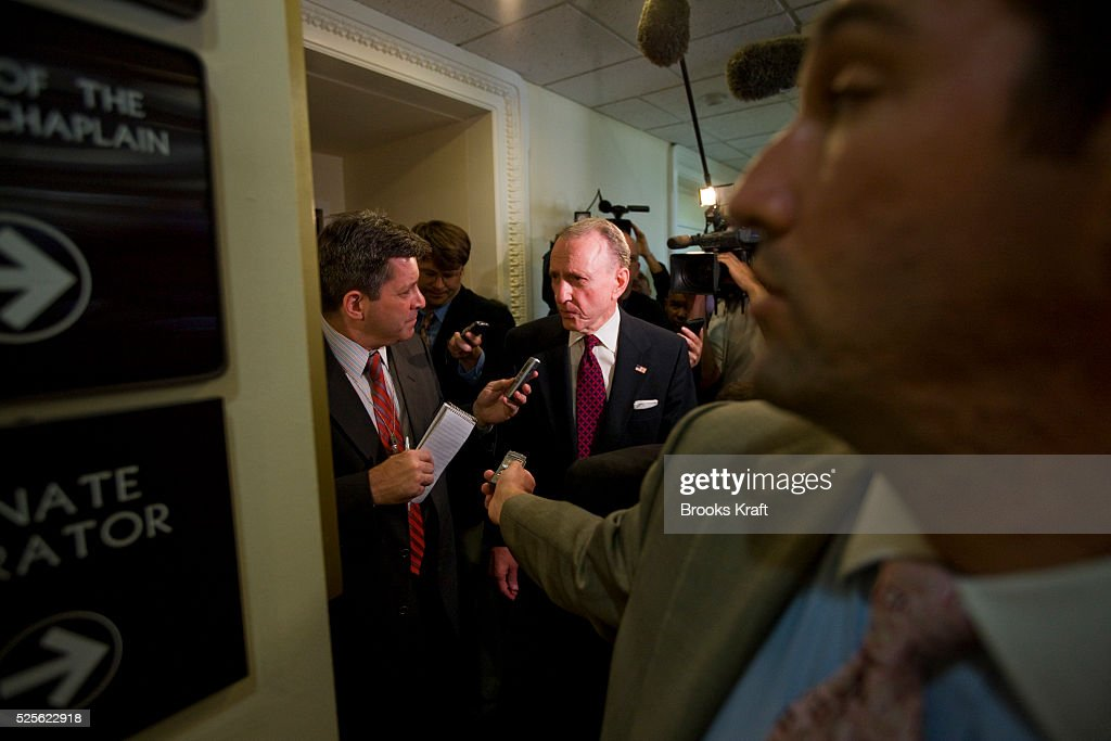 Senator Arlen Specter is surrounded by media after he spoke at a news conference in Washington Specter of Pennsylvania switched parties with a...