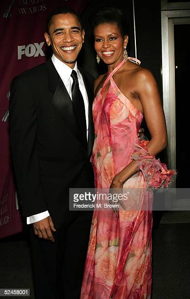 Senator Barack Obama and his wife Michelle arrive at the 36th NAACP Image Awards at the Dorothy Chandler Pavilion on March 19 2005 in Los Angeles...