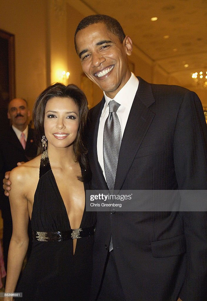 US Senator <a gi-track='captionPersonalityLinkClicked' href=/galleries/search?phrase=Barack+Obama&family=editorial&specificpeople=203260 ng-click='$event.stopPropagation()'>Barack Obama</a>, (D-IL), poses with <a gi-track='captionPersonalityLinkClicked' href=/galleries/search?phrase=Eva+Longoria&family=editorial&specificpeople=202082 ng-click='$event.stopPropagation()'>Eva Longoria</a> at the National Hispanic Foundation For The Arts Annual 'Noche de Gala' at the Mayflower Hotel, September 13, 2005 in Washington, DC.