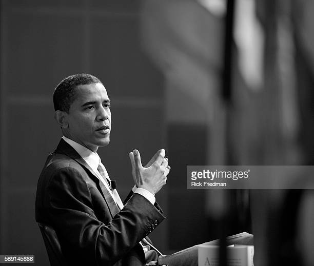 Senator Barack Obama speaks at the John F Kennedy Library in Boston on October 20 2006