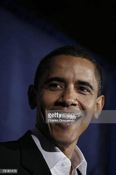 Senator Barack Obama speaks in Manchester New Hampshire on December 10 2006 just before a rally by Democrats to celebrate the recent victories in the...