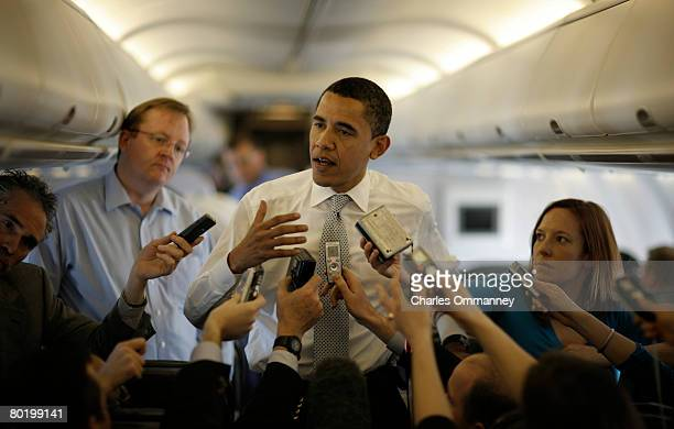S Senator Barack Obama speaks to the traveling media on board his campaign plane between stops February 28 2008 in Beaumont Texas Obama is...