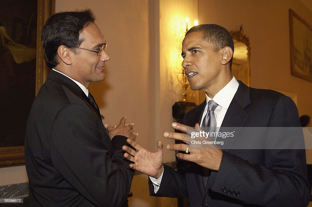 US Senator Barack Obama, (D-IL), speaks with actor Jimmy Smits at the National Hispanic Foundation For The Arts Annual 'Noche de Gala' at the Mayflower Hotel, September 13, 2005 in Washington, DC.