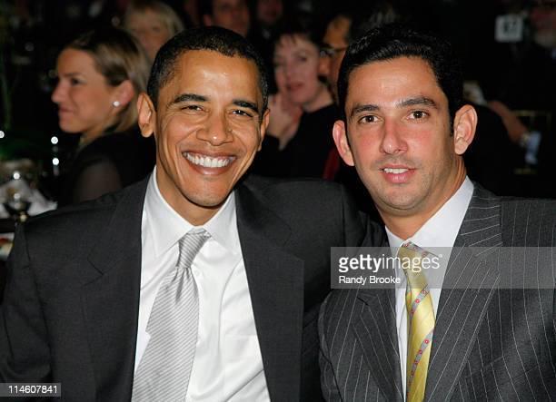 Senator Barack Obama with NY Yankee catcher and Mentor Award recipient Jorge Posada