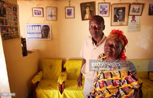 Senator Barack Obama's stepgrandmother Sarah Obama is pictured with her son Said Obama in her house on January 12 2008 in Kogelo western Kenya Barack...